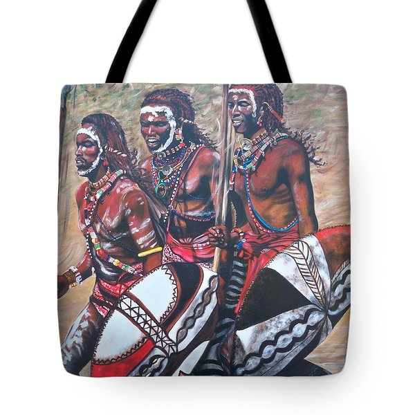 Blaa Kattproduksjoner       Masaai Warriors Tote Bag
