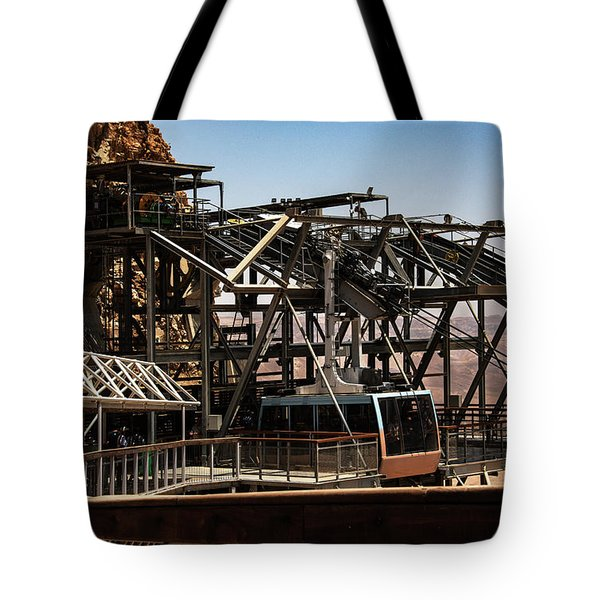 Tote Bag featuring the photograph Masada Lift by Mae Wertz