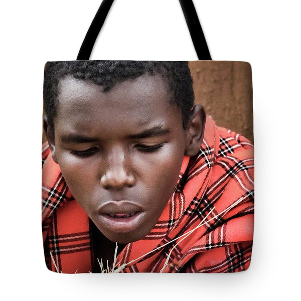 Tote Bag featuring the photograph Masai Firemaker by Karen Lewis