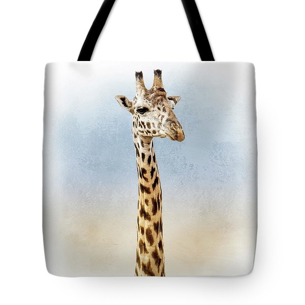 Masai Giraffe Closeup Square Tote Bag