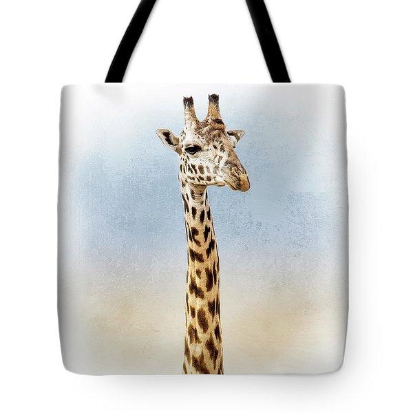 Masai Giraffe Closeup Square Tote Bag