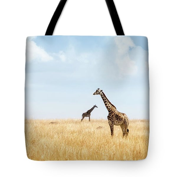 Masai Giraffe In Kenya Plains Tote Bag
