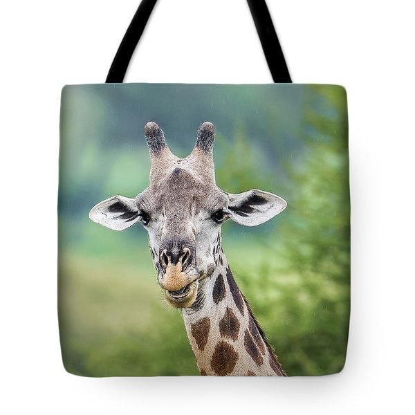 Masai Giraffe Portrait Tote Bag
