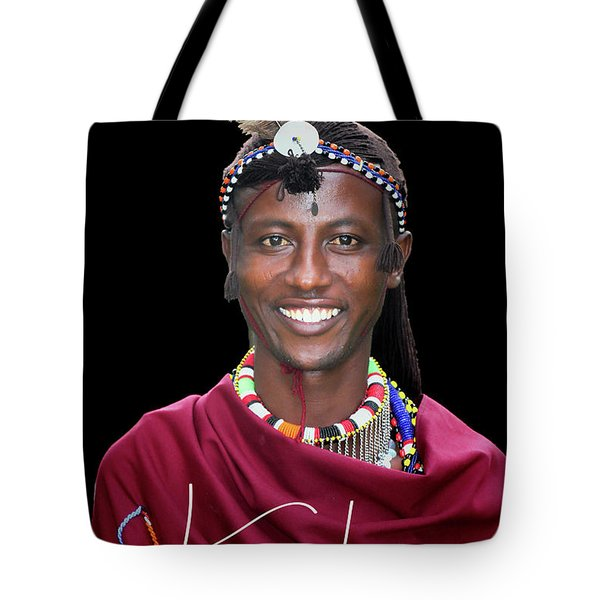 Tote Bag featuring the photograph Masai Warrior by Karen Lewis