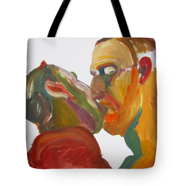 Tote Bag featuring the painting Masculine Kiss by Shungaboy X