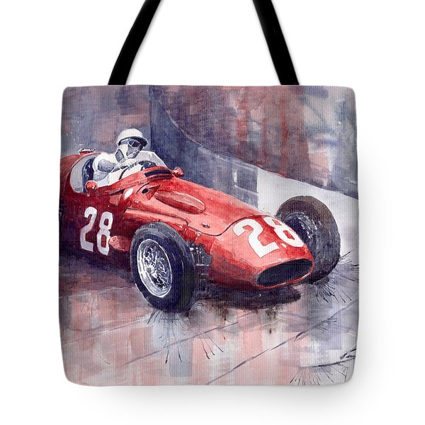 Maserati 250 F Gp Monaco 1956 Stirling Moss Tote Bag by Yuriy  Shevchuk