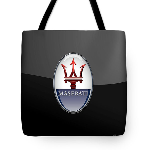 Maserati - 3d Badge On Black Tote Bag