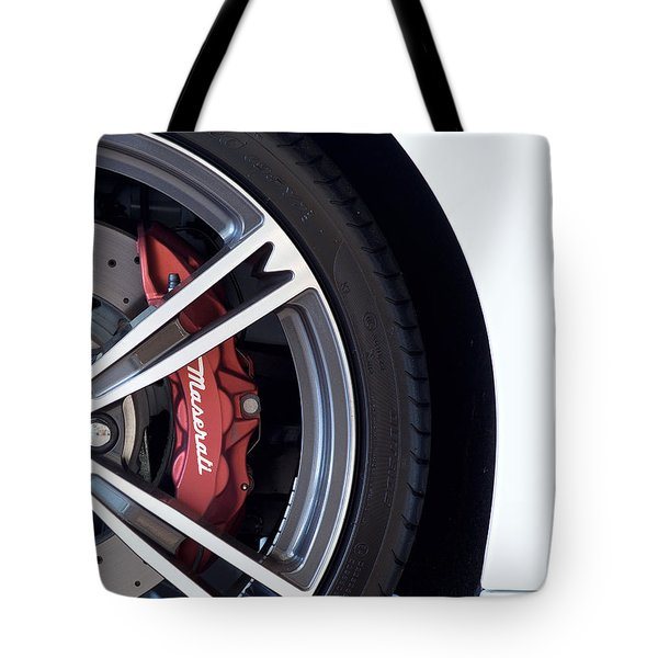 Maserati Wheel White Tote Bag