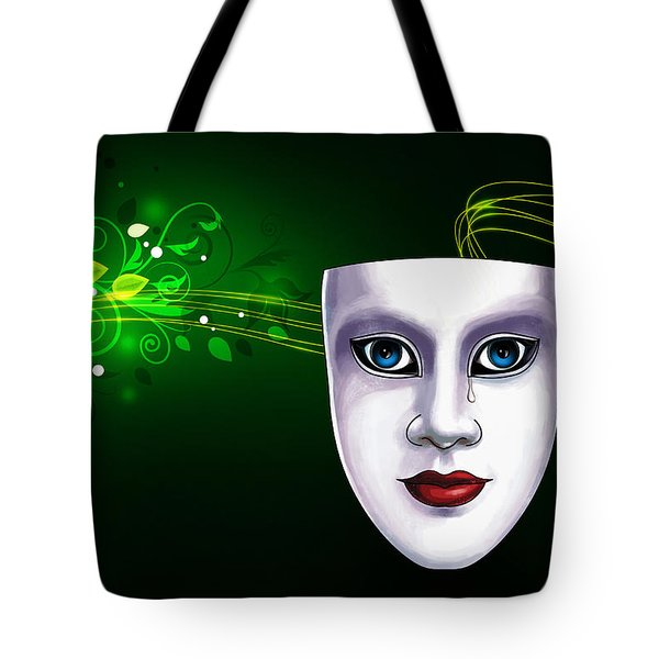 Mask Blue Eyes On Green Vines Tote Bag