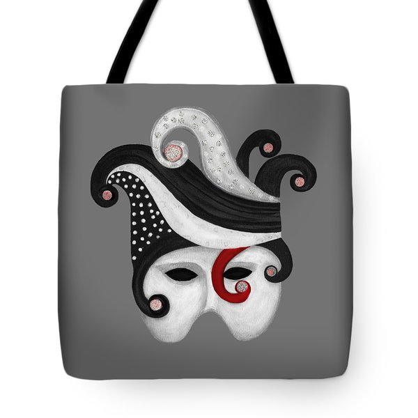 Mask In Black And White With Red Tote Bag by Nareeta Martin