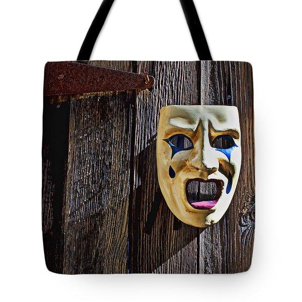 Mask On Barn Door Tote Bag by Garry Gay