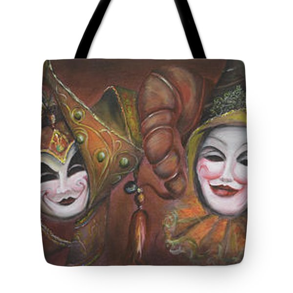 Tote Bag featuring the painting Mask Row by Nik Helbig