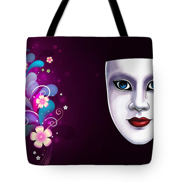 Mask With Blue Eyes Floral Design Tote Bag