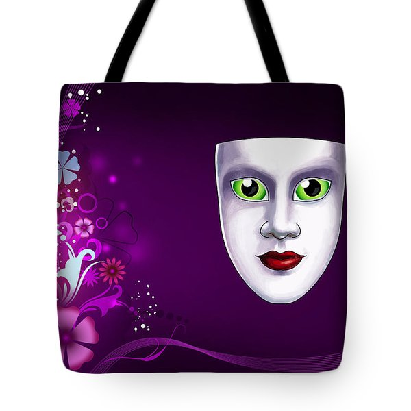 Tote Bag featuring the photograph Mask With Green Eyes On Pink Floral Background by Gary Crockett