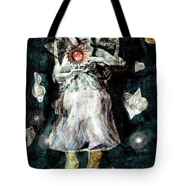 Tote Bag featuring the painting Masked Angel Holding The Sun by Genevieve Esson