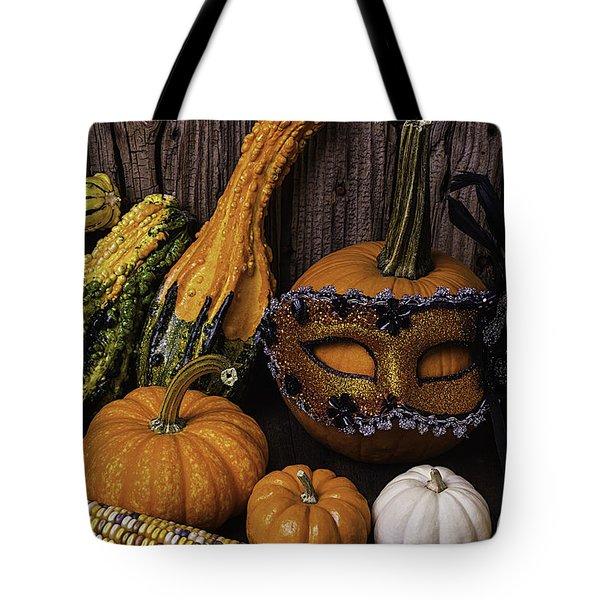 Masked Pumpkin Tote Bag