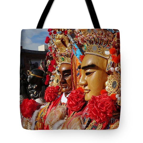 Tote Bag featuring the photograph Masks Used For Temple Ceremonies by Yali Shi