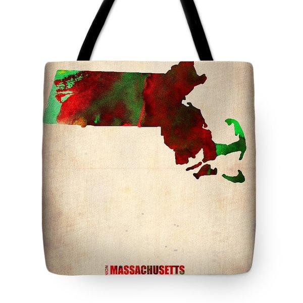 Massachusetts Watercolor Map Tote Bag by Naxart Studio
