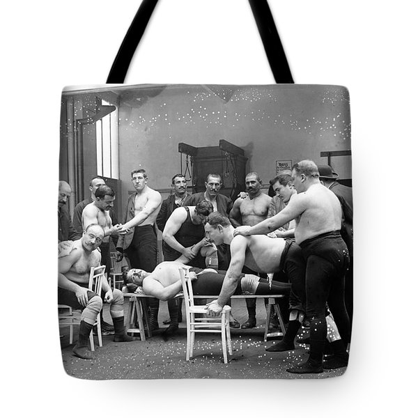 Massage Between Wrestlers Training 1904 Tote Bag