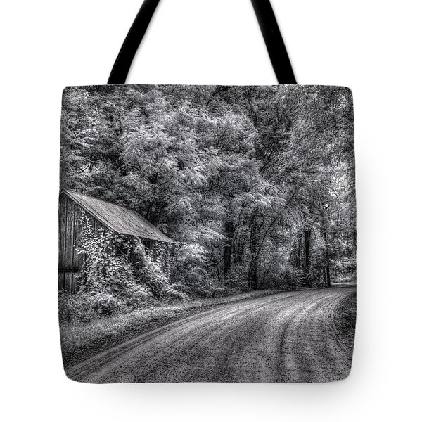 Tote Bag featuring the digital art Massas Creek Shed by William Fields