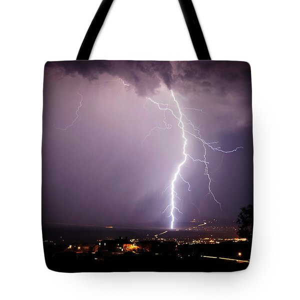 Tote Bag featuring the photograph Massive Lightning Storm by Ron Chilston