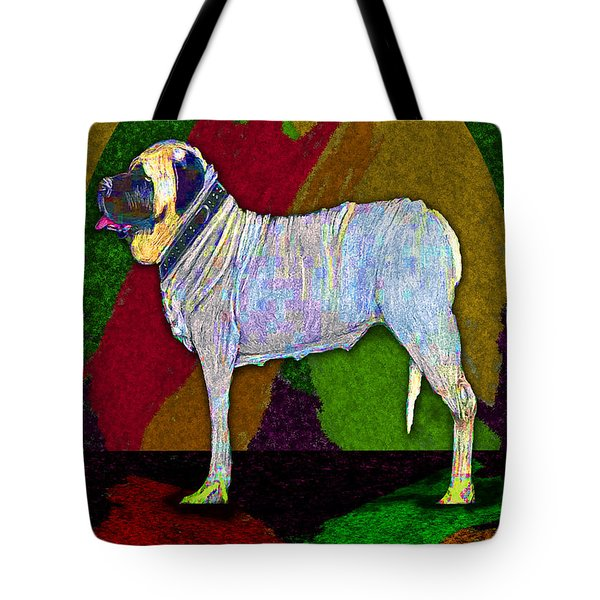 Tote Bag featuring the digital art Mastiffically Colorful by Michelle Audas