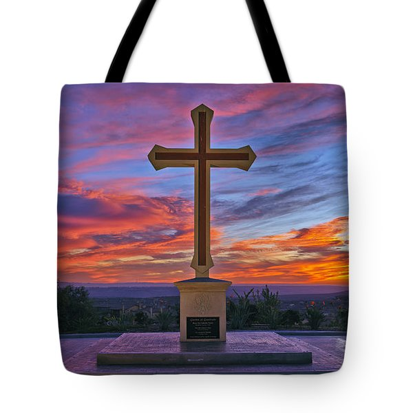 Christian Cross And Amazing Sunset Tote Bag by Sam Antonio Photography