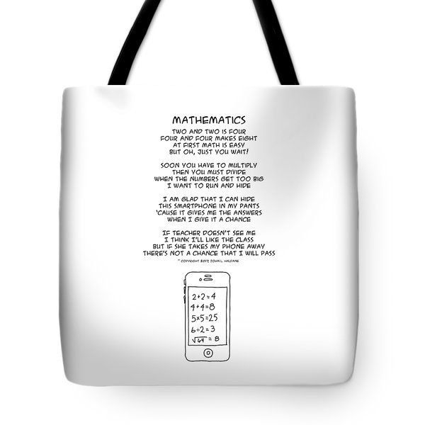 Tote Bag featuring the drawing Mathematics by John Haldane