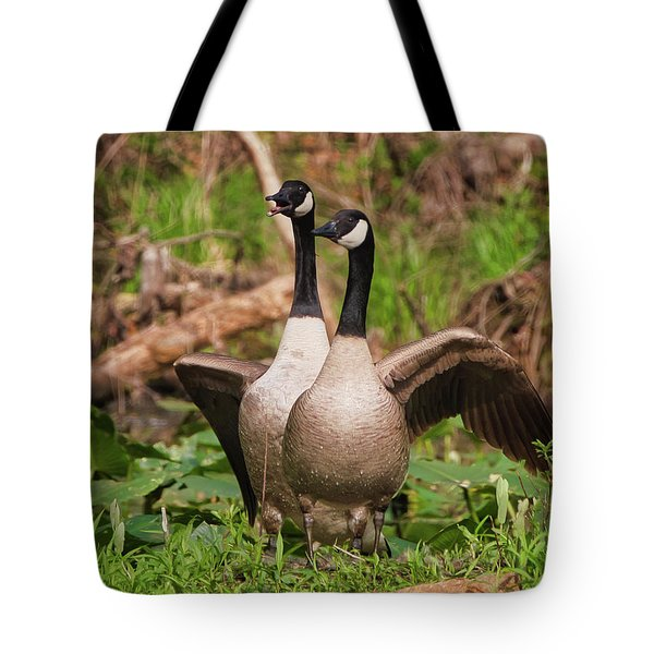 Mating Pair Guarding The Nest Tote Bag
