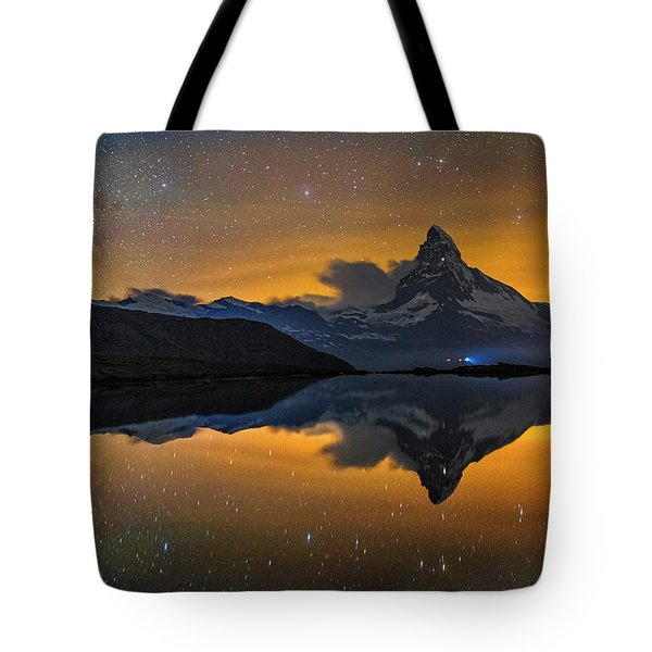 Matterhorn Milky Way Reflection Tote Bag