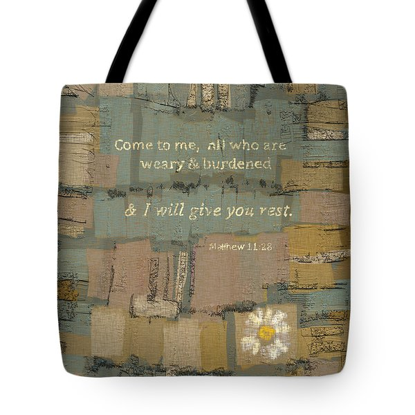 Tote Bag featuring the painting Matthew Bible Verse by Carrie Joy Byrnes