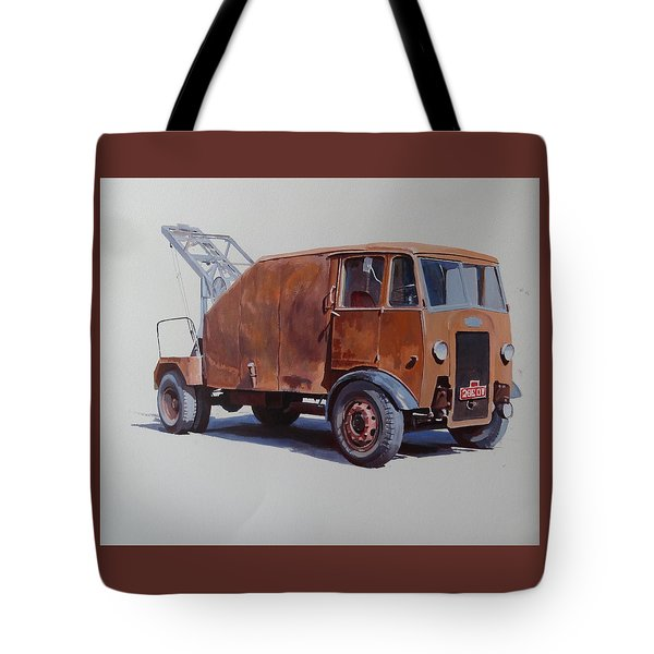 Tote Bag featuring the painting Maudslay Wrecker. by Mike  Jeffries