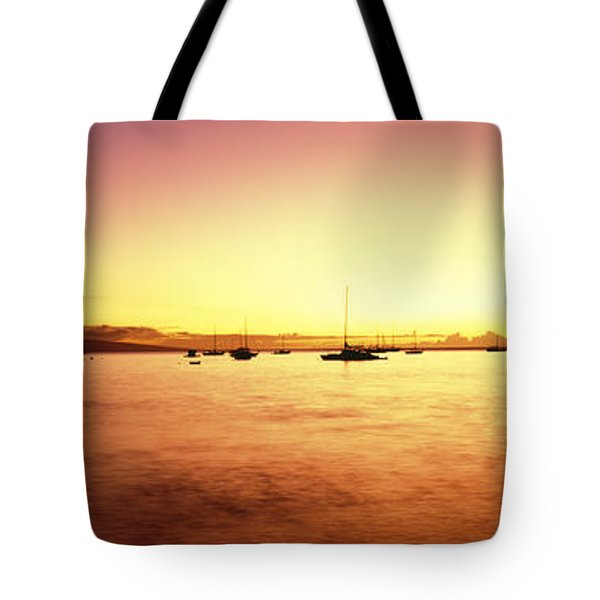 Maui Boat Harbor Silhouette Tote Bag by Carl Shaneff - Printscapes