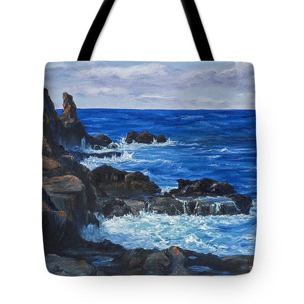 Tote Bag featuring the painting Maui Rugged Coastline by Darice Machel McGuire