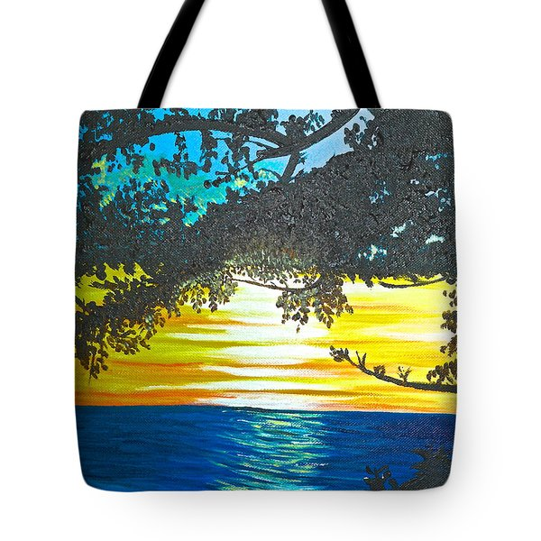 Tote Bag featuring the painting Maui Sunset by Donna Blossom