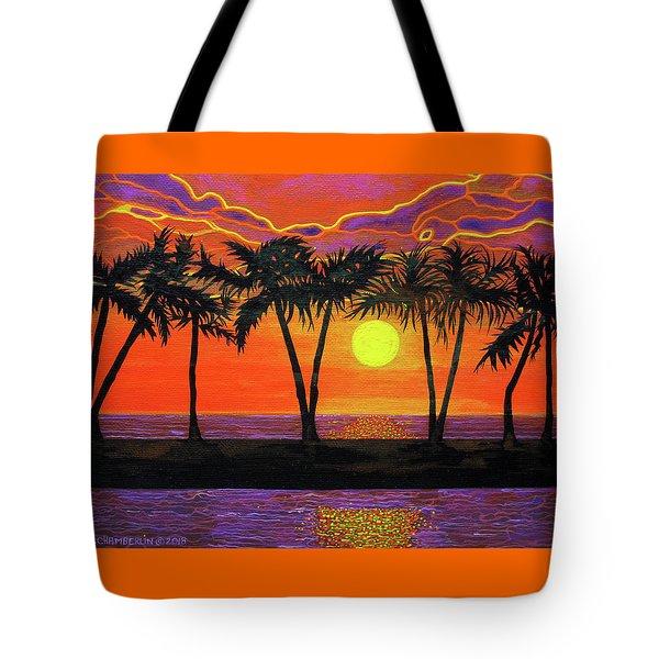 Maui Sunset Palm Trees Tote Bag
