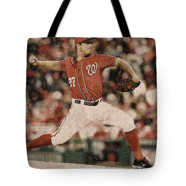 Max Scherzer Washington Nationals Painting Tote Bag