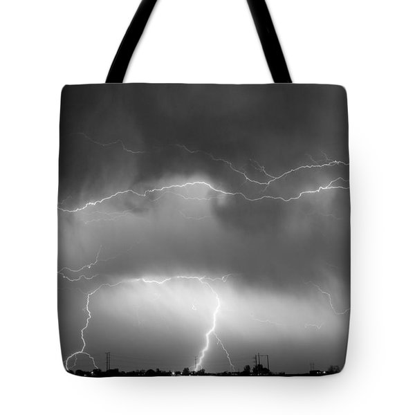 May Showers - Lightning Thunderstorm  Bw 5-10-2011 Tote Bag by James BO  Insogna