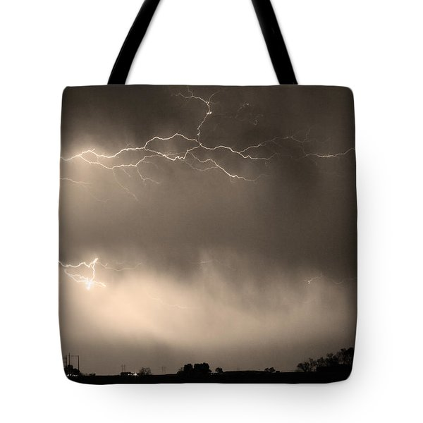 May Showers 2 In Sepia - Lightning Thunderstorm 5-10-2011   Tote Bag by James BO  Insogna