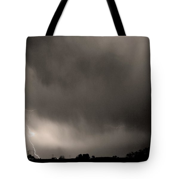 May Showers 3 In Sepia - Lightning Thunderstorm 5-10-2011 Boulde Tote Bag by James BO  Insogna