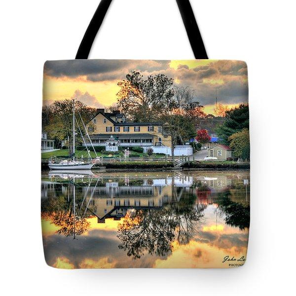 Mays Landing Morning Tote Bag by John Loreaux