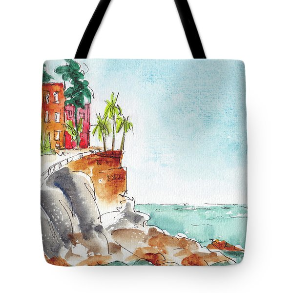 Tote Bag featuring the painting Mazatlan Cliff by Pat Katz