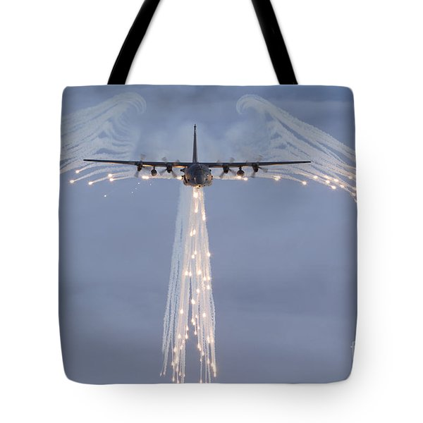 Mc-130h Combat Talon Dropping Flares Tote Bag