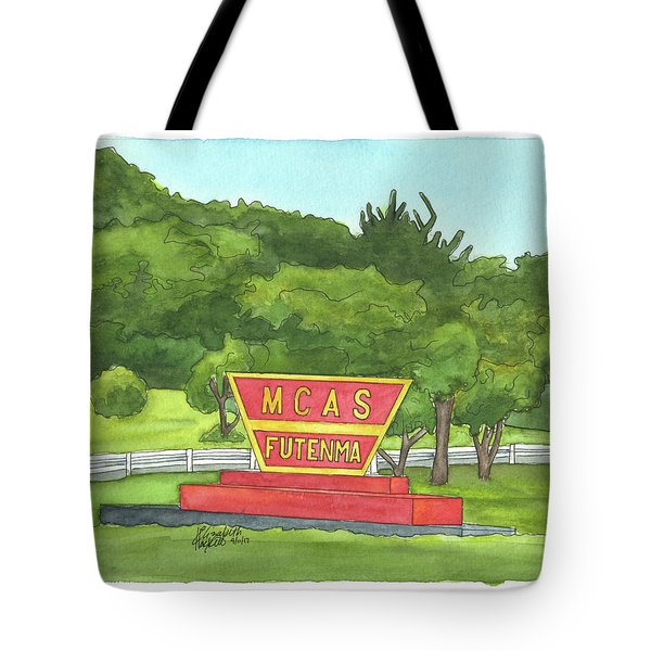 Tote Bag featuring the painting Mcas Futenma Welcome Sign by Betsy Hackett