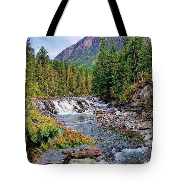 Mcdonald Creek Waterfall Tote Bag