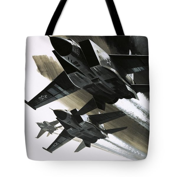 Mcdonnell Douglas F15 Eagle Jet Fighter Tote Bag by Wilf Hardy