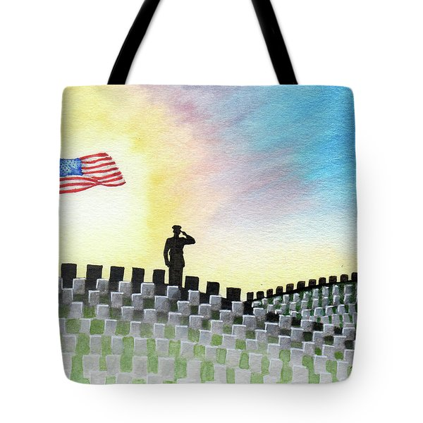 Tote Bag featuring the painting M C U Memorial Salute by Betsy Hackett