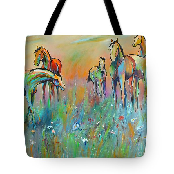 Tote Bag featuring the painting Meadow by Cher Devereaux