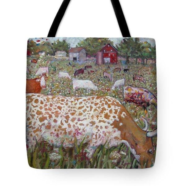 Meadow Farm Cows Tote Bag