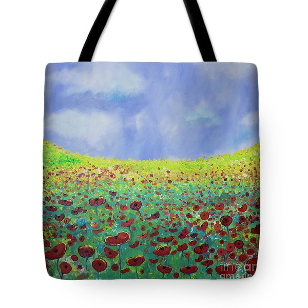 Meadow Of Poppies  Tote Bag